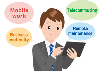 "Click here for prime examples of MagicConnect offering ""mobile work,"" ""telecommuting,"" ""BCP,"" and ""remote maintenance solutions."""